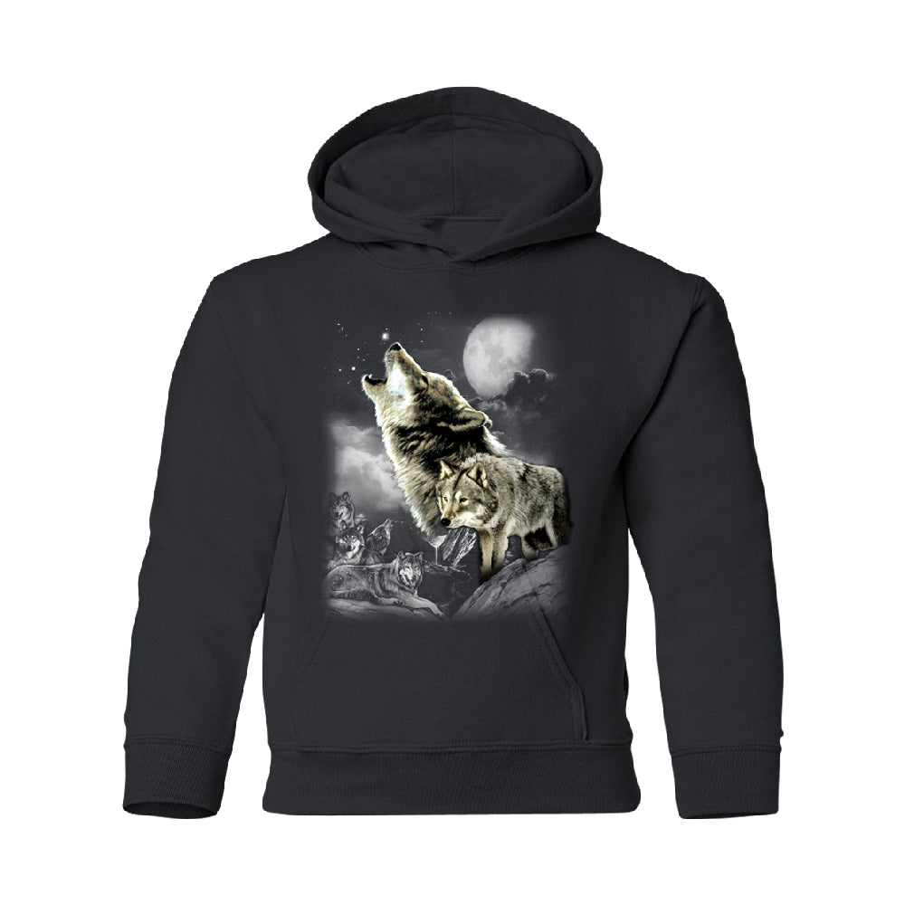 Wolves Wildness Howling Full Moon YOUTH Hoodie Wolf the Mountain SweatShirt