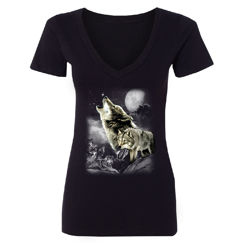 Wolves Wildness Howling Full Moon Women's Deep V-neck Wolf the Mountain Tee