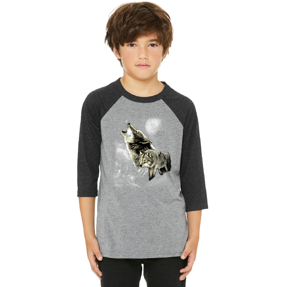 Wolves Wildness Howling Full Moon Youth Raglan Wolf the Mountain Jersey