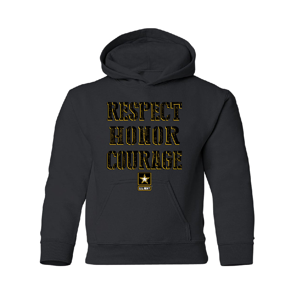 US Army Respect Honor Courage YOUTH Hoodie Strong Military USA SweatShirt