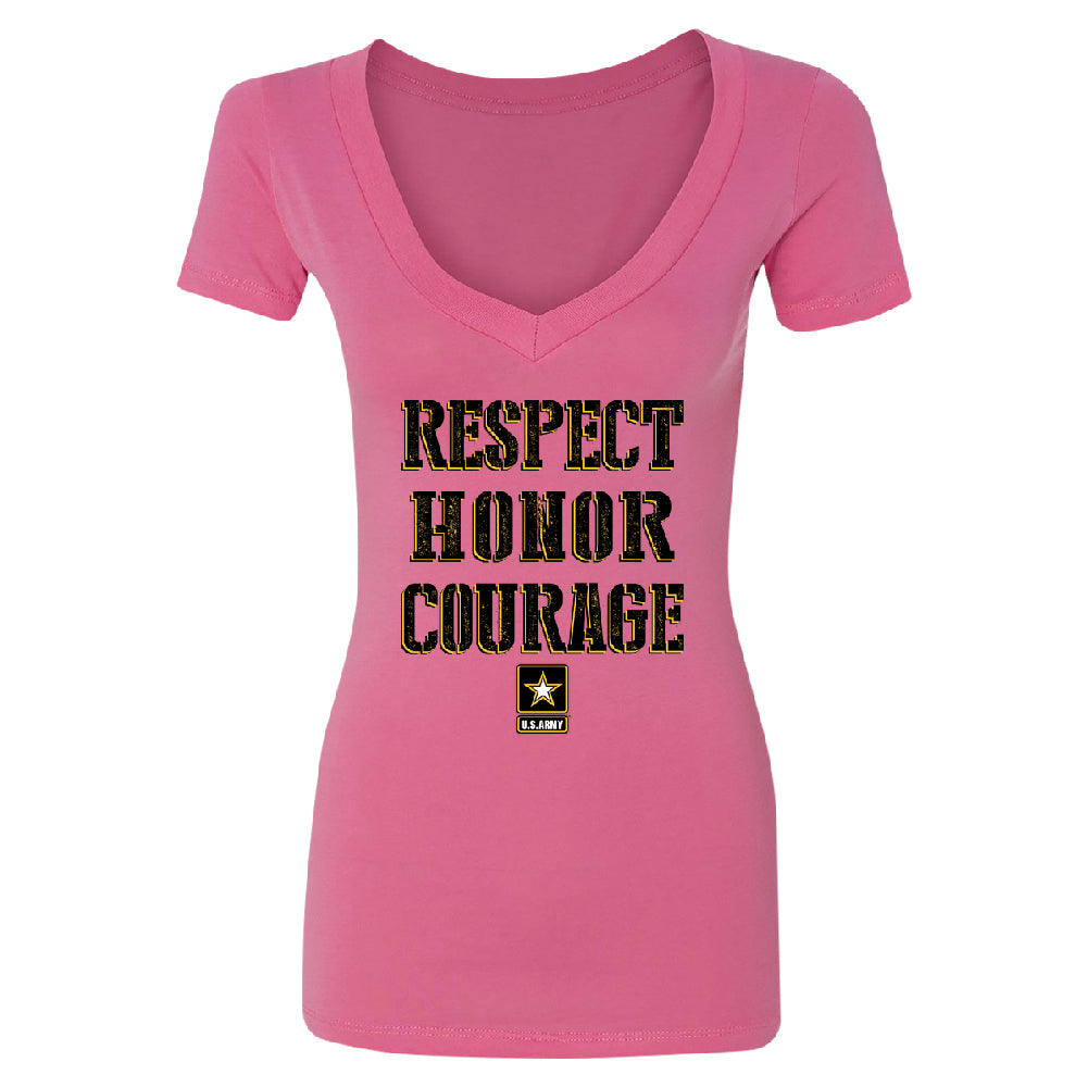 US Army Respect Honor Courage Women's Deep V-neck Strong Military USA Tee