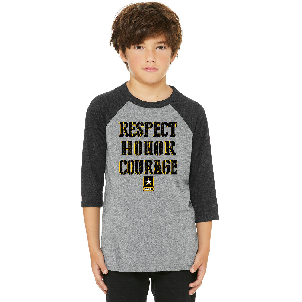 US Army Respect Honor Courage Youth Raglan Strong Military USA Jersey