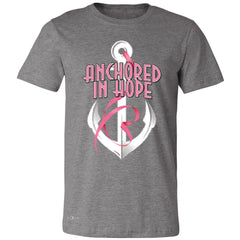Anchored In Hope Pink Ribbon  Men's T-shirt Breat Cancer Awareness Tee - Zexpa Apparel Halloween Christmas Shirts
