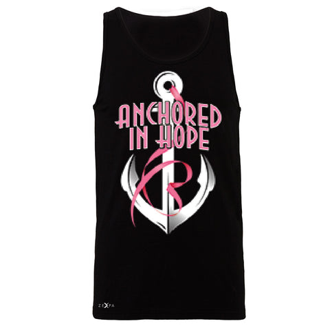 Anchored In Hope Pink Ribbon  Men's Jersey Tank Breat Cancer Awareness Sleeveless - Zexpa Apparel Halloween Christmas Shirts