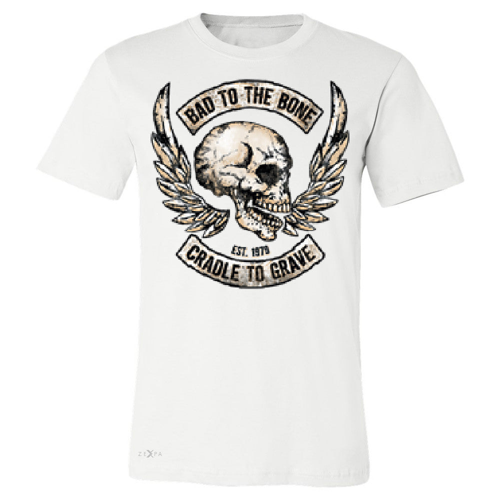 Bad To The Bone Cradle To Grave Men's T-shirt Biker Tee - Zexpa Apparel Halloween Christmas Shirts