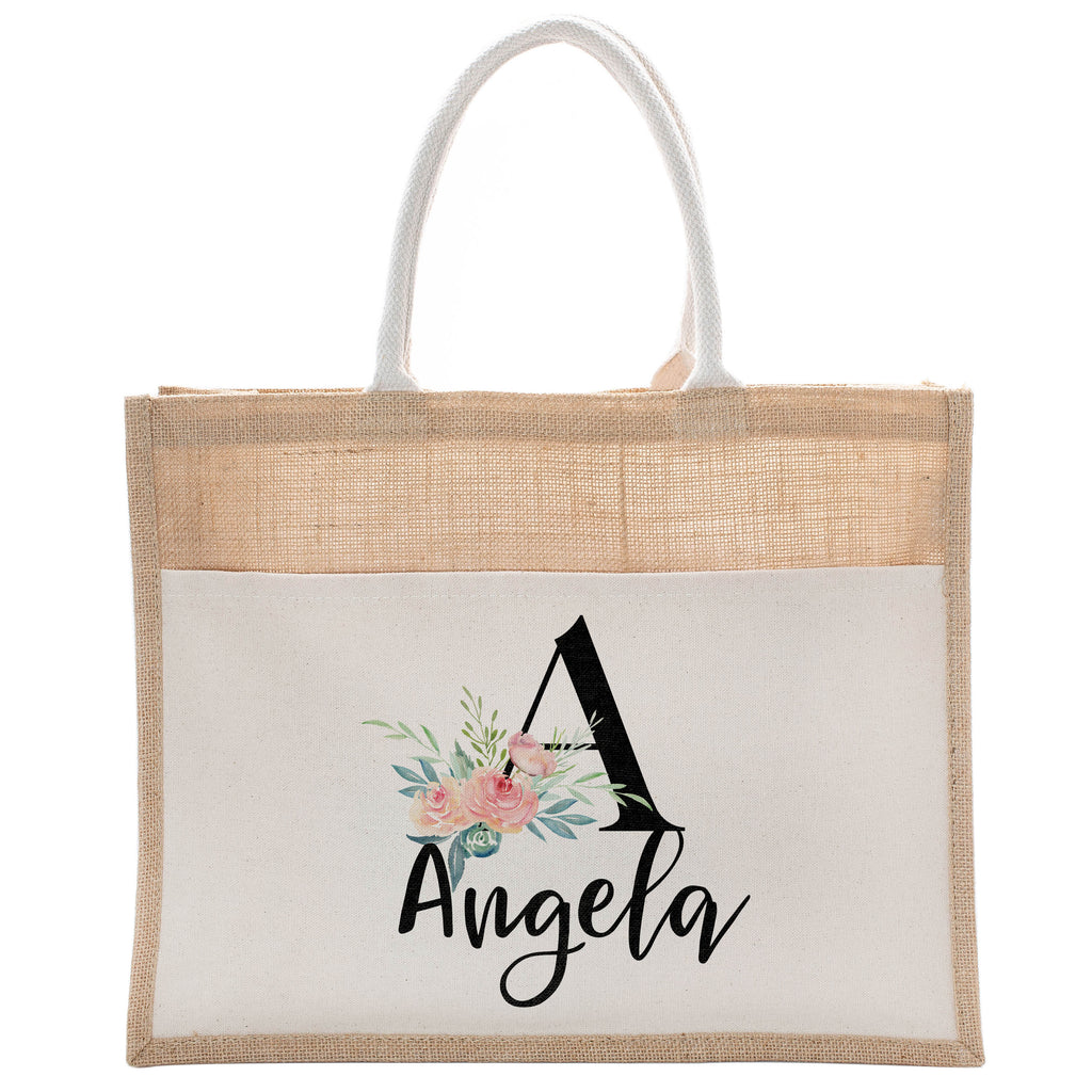 Personalized Luxury Totebag | Cusomized Floral Cotton Canvas Tote Bag For Bachelorette Party Beach Workout Yoga Pilates Vacation Bridesmaid and Daily Use Totes Design #4