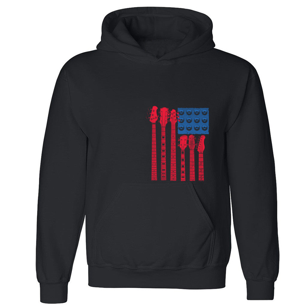 "Zexpa Apparelâ""¢ Red White Blues Unisex Hoodie 4th Of July Guitar Handle Music Hooded Sweatshirt"