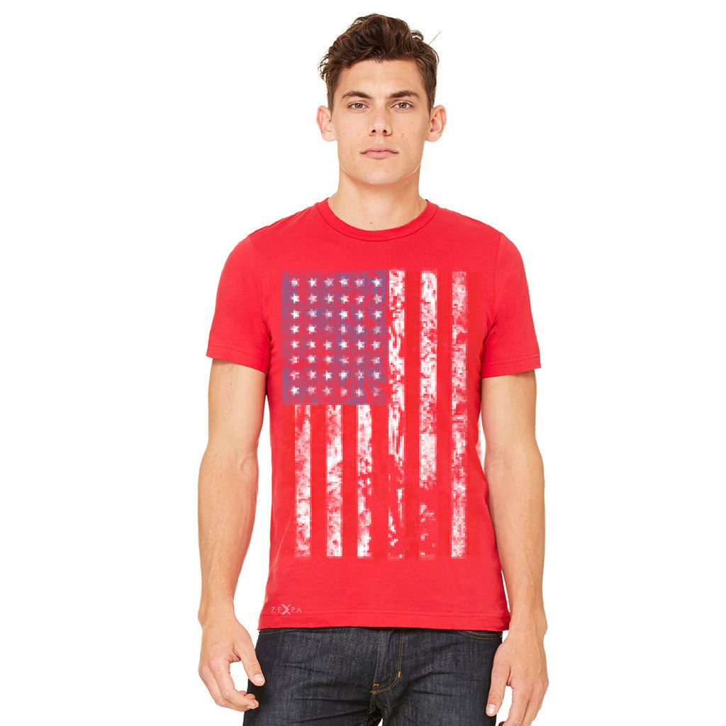 Distressed USA Flag 4th of July Men's T-shirt Patriotic Tee - Zexpa Apparel Halloween Christmas Shirts