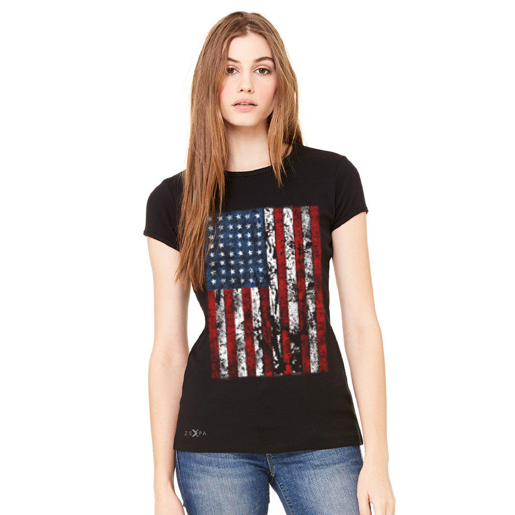 Distressed USA Flag 4th of July Women's T-shirt Patriotic Tee - zexpaapparel - 2