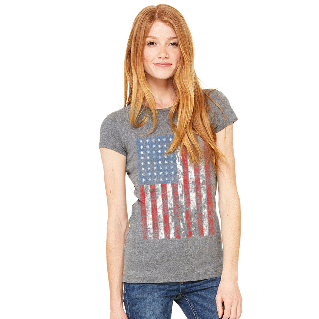 Distressed USA Flag 4th of July Women's T-shirt Patriotic Tee - zexpaapparel - 3