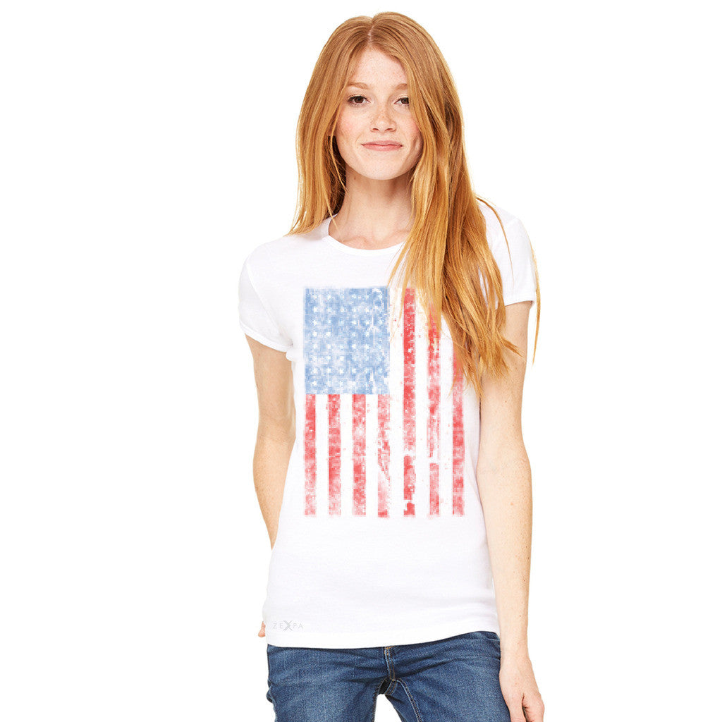 Distressed USA Flag 4th of July Women's T-shirt Patriotic Tee - Zexpa Apparel Halloween Christmas Shirts