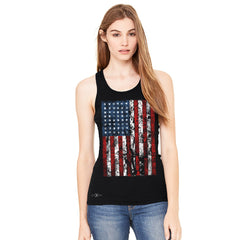 Distressed USA Flag 4th of July Women's Racerback Patriotic Sleeveless - Zexpa Apparel Halloween Christmas Shirts