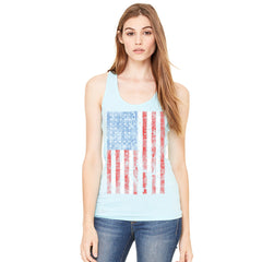 Distressed USA Flag 4th of July Women's Racerback Patriotic Sleeveless - Zexpa Apparel