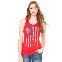 Distressed USA Flag 4th of July Women's Racerback Patriotic Sleeveless - zexpaapparel - 4