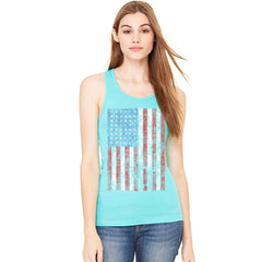 Distressed USA Flag 4th of July Women's Racerback Patriotic Sleeveless - zexpaapparel - 5