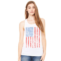Distressed USA Flag 4th of July Women's Racerback Patriotic Sleeveless - zexpaapparel - 6