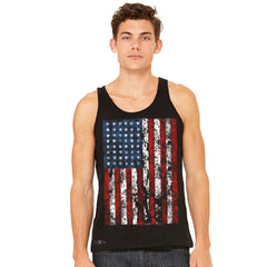 Distressed USA Flag 4th of July Men's Jersey Tank Patriotic Sleeveless - zexpaapparel - 2