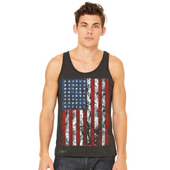 Distressed USA Flag 4th of July Men's Jersey Tank Patriotic Sleeveless - zexpaapparel - 3
