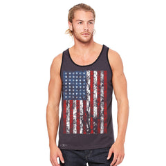 Distressed USA Flag 4th of July Men's Jersey Tank Patriotic Sleeveless - zexpaapparel - 4