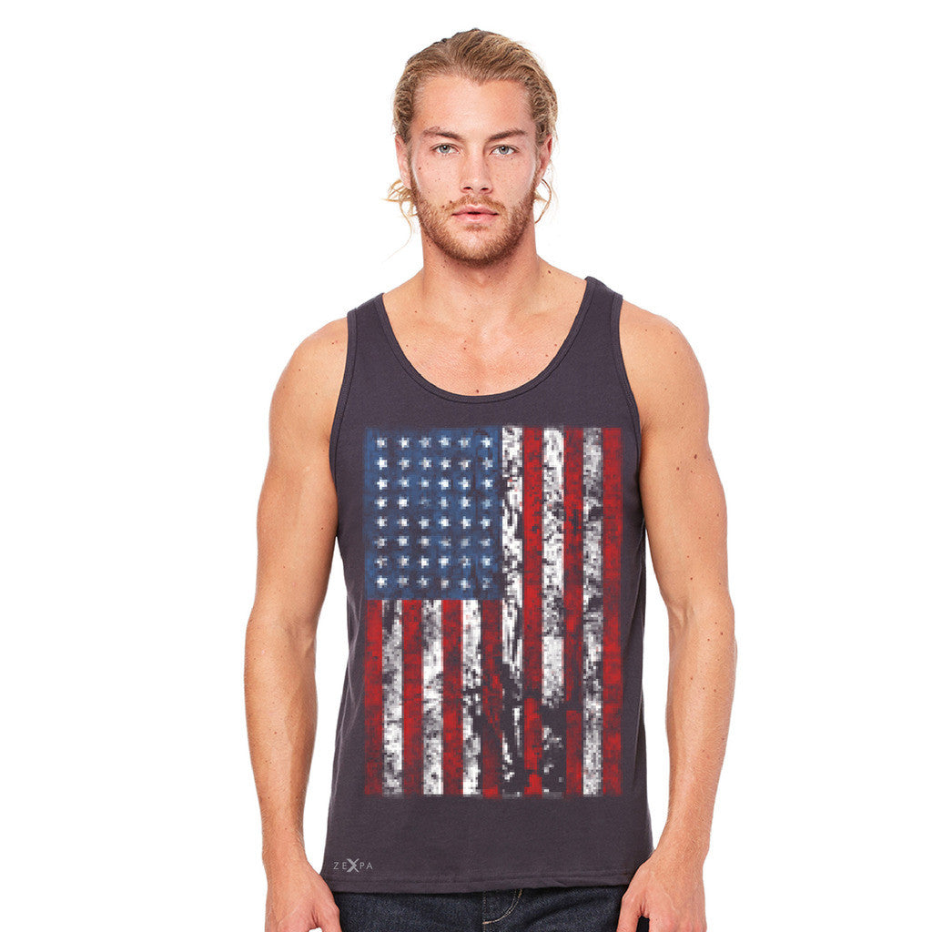 Distressed USA Flag 4th of July Men's Jersey Tank Patriotic Sleeveless - Zexpa Apparel Halloween Christmas Shirts