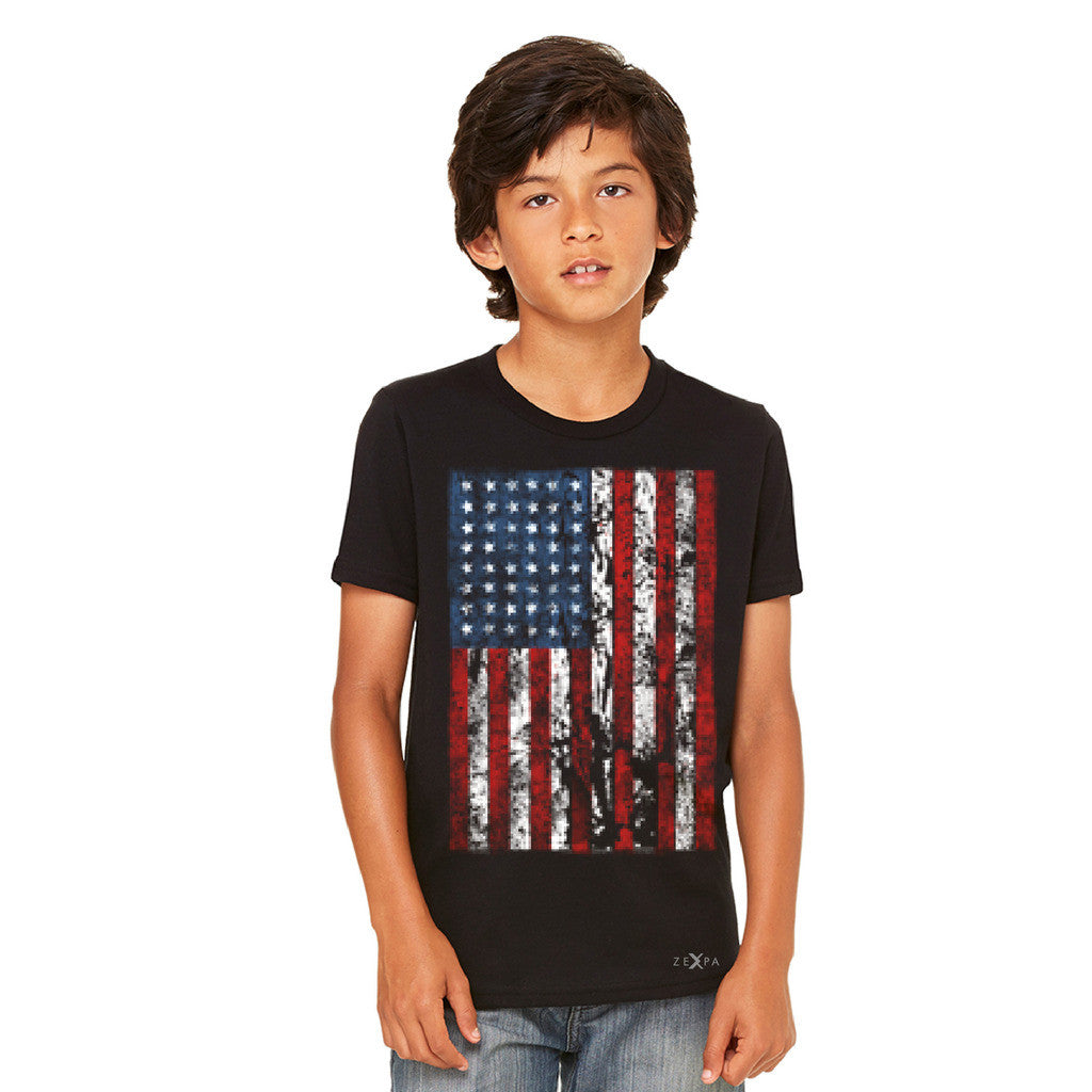 Distressed USA Flag 4th of July Youth T-shirt Patriotic Tee - Zexpa Apparel Halloween Christmas Shirts