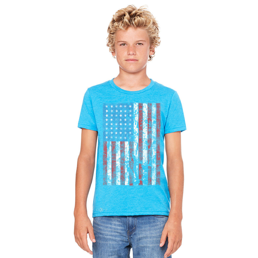 Distressed USA Flag 4th of July Youth T-shirt Patriotic Tee - Zexpa Apparel - 4