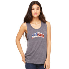 USA Basketball Team Logo Olympics Women's Muscle Tee Patriotic Sleeveless - zexpaapparel - 1