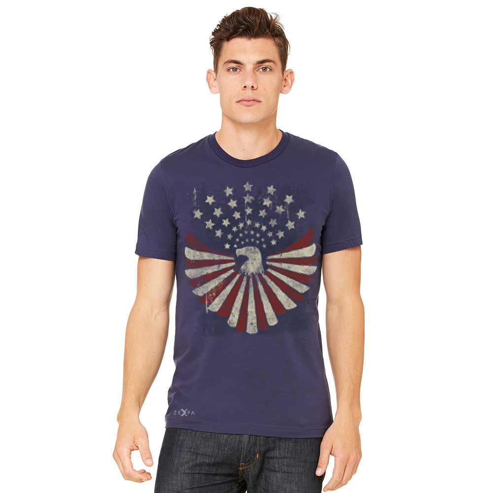 Zexpa Apparel™ American Bald Eagle USA Vintage Flag Men's T-shirt Patriotic Tee - Zexpa Apparel Halloween Christmas Shirts