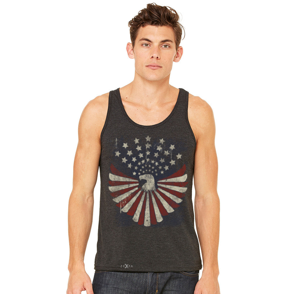 Zexpa Apparel™ American Bald Eagle USA Vintage Flag Men's Jersey Tank Patriotic Sleeveless - Zexpa Apparel Halloween Christmas Shirts
