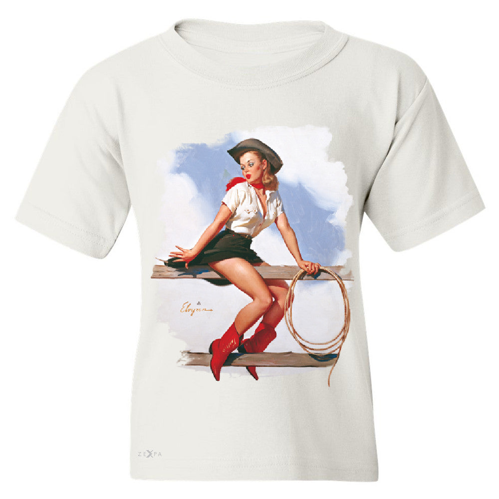 Pin-Up Cowgirl Hi Ho Silver Youth T-shirt Cool Western Pin Up Tee - Zexpa Apparel - 5