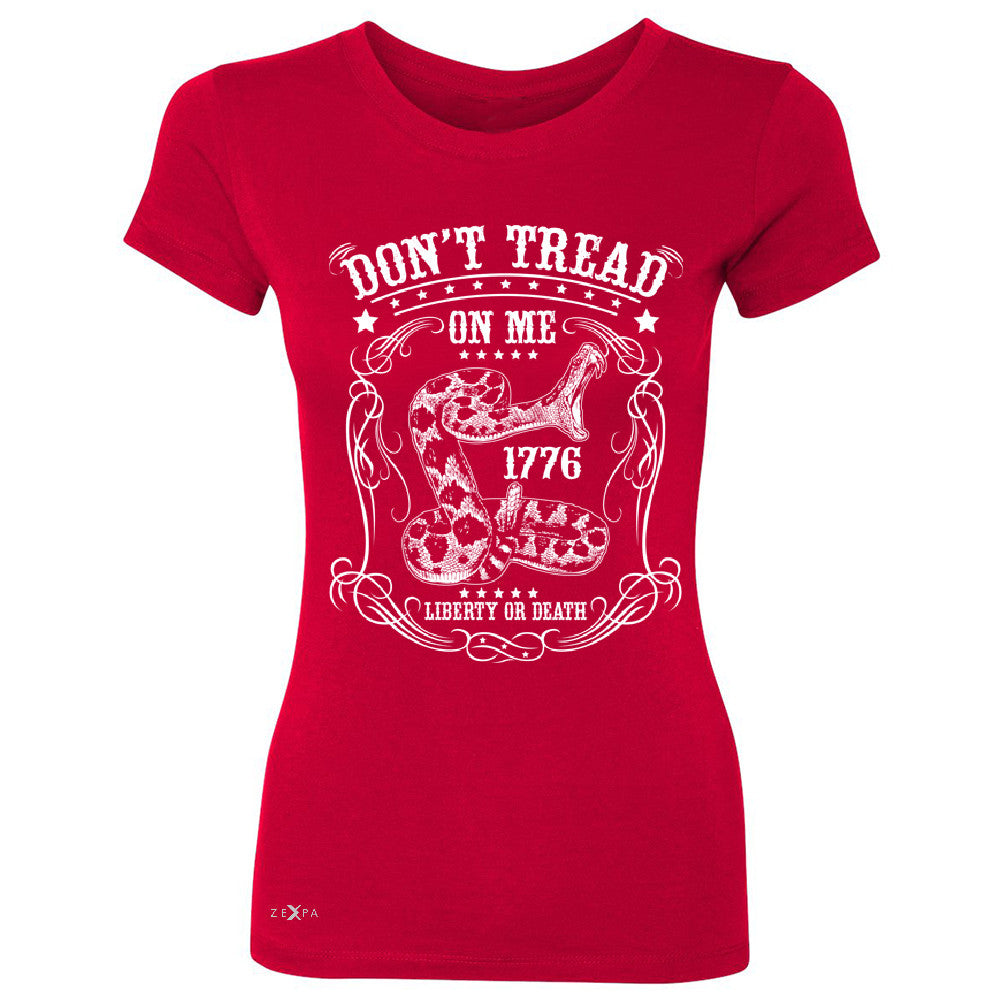 "Zexpa Apparelâ""¢ Don't Tread On Me Women's T-shirt 1776 Liberty Or Death Political Tee - Zexpa Apparel Halloween Christmas Shirts"