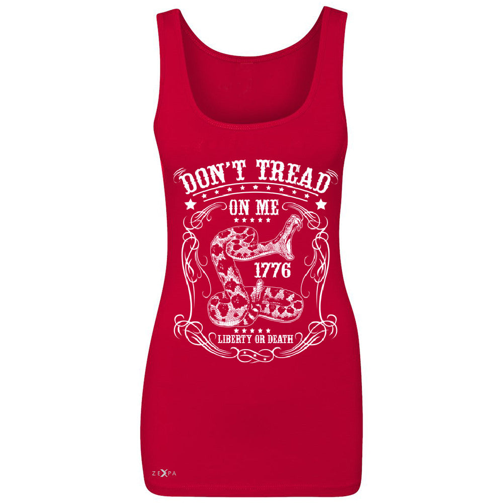 "Zexpa Apparelâ""¢ Don't Tread On Me Women's Tank Top 1776 Liberty Or Death Political Sleeveless - Zexpa Apparel Halloween Christmas Shirts"