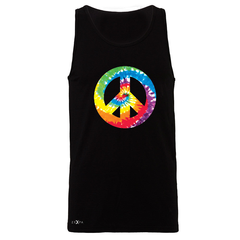 Peace Sign TIE DYE Hippie Men's Jersey Tank Politics Graphic Retro Sleeveless - Zexpa Apparel - 1