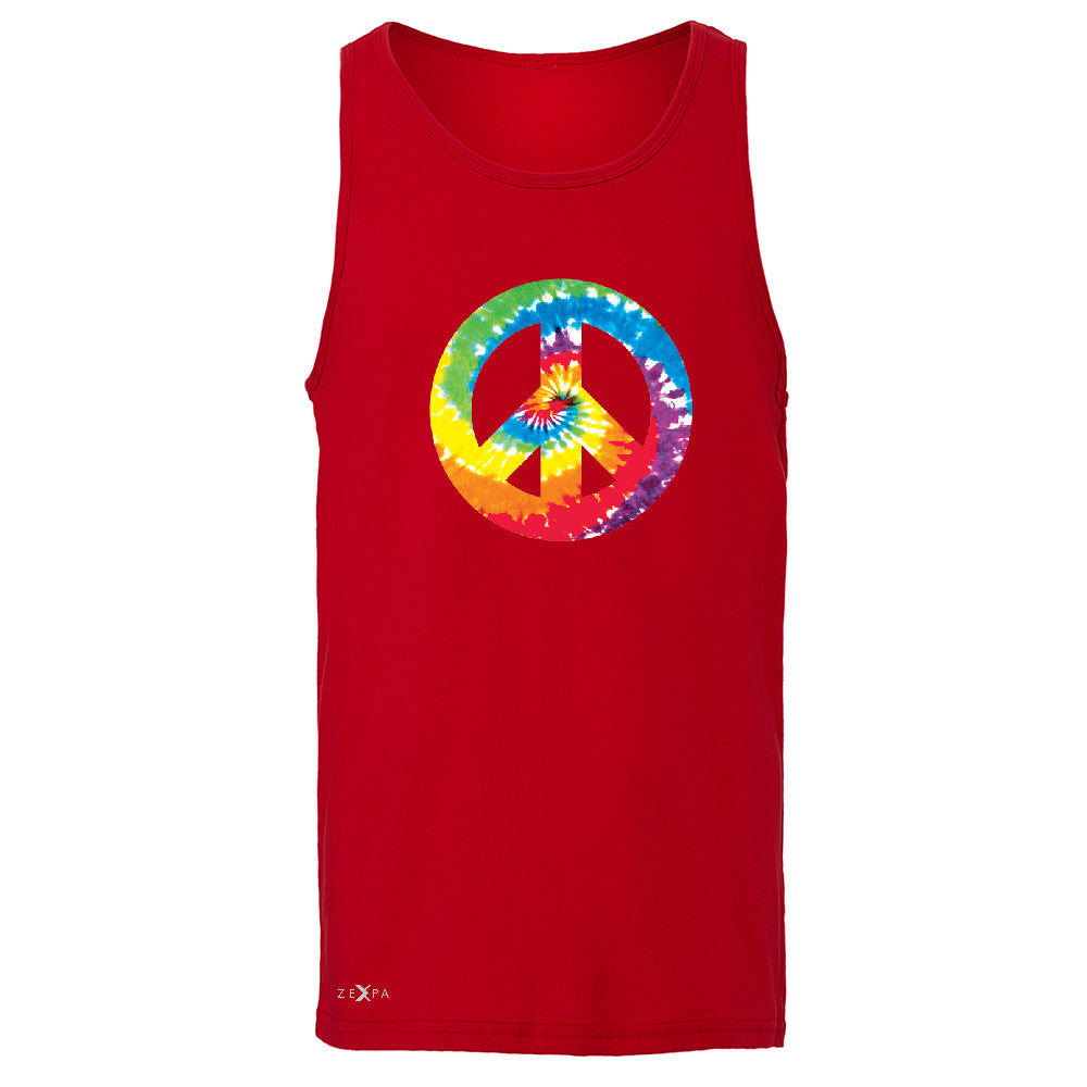 Peace Sign TIE DYE Hippie Men's Jersey Tank Politics Graphic Retro Sleeveless - Zexpa Apparel - 4