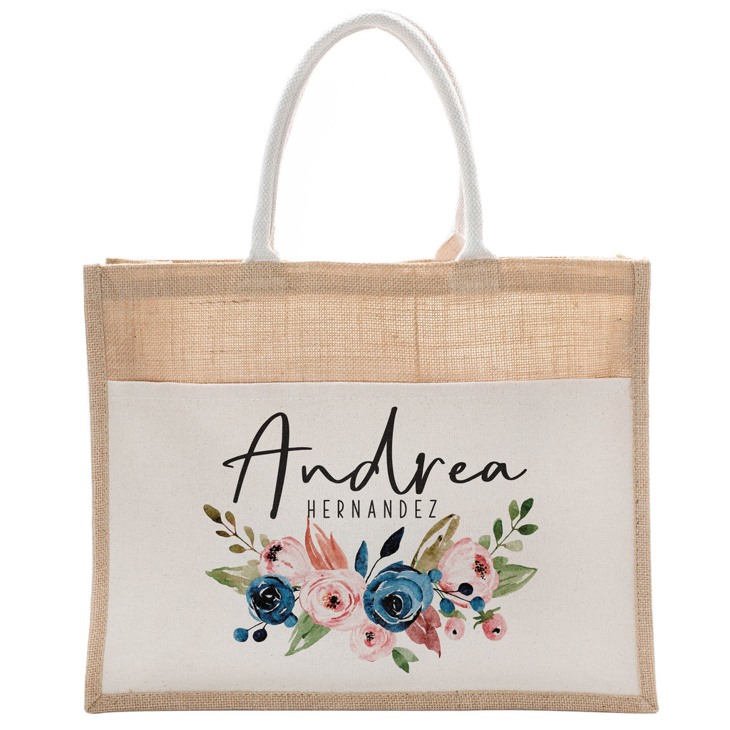 Personalized Luxury Totebag | Cusomized Floral Cotton Canvas Tote Bag For Bachelorette Party Beach Workout Yoga Pilates Vacation Bridesmaid and Daily Use Totes Design #12