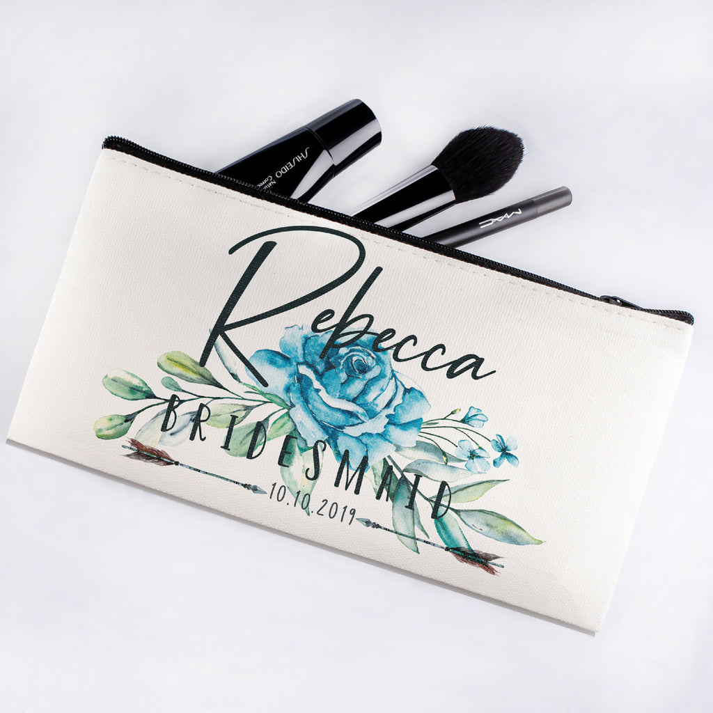 Personalized Makeup Bag Bridesmaid | Wedding Customized Pouch | Bachelorette Party Cosmetic Case |Toiletries Hndy Organizer with Zipper|Events Parties Baby Shower Anniversary Christmas Gift|Desging #3