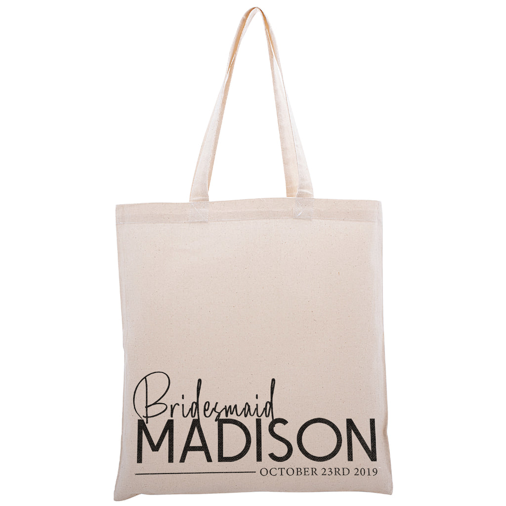 Personalized Tote Bag For Bridesmaids Wedding | Customized Bachelorette Party Bag | Baby Shower and Events Totes |Design #18