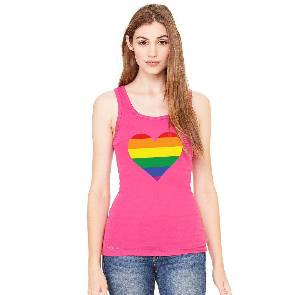 Gay Pride Rainbow Love Heart Strong Women's Tank Top Pride Sleeveless - Zexpa Apparel - 2