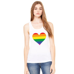 Gay Pride Rainbow Love Heart Strong Women's Tank Top Pride Sleeveless - Zexpa Apparel