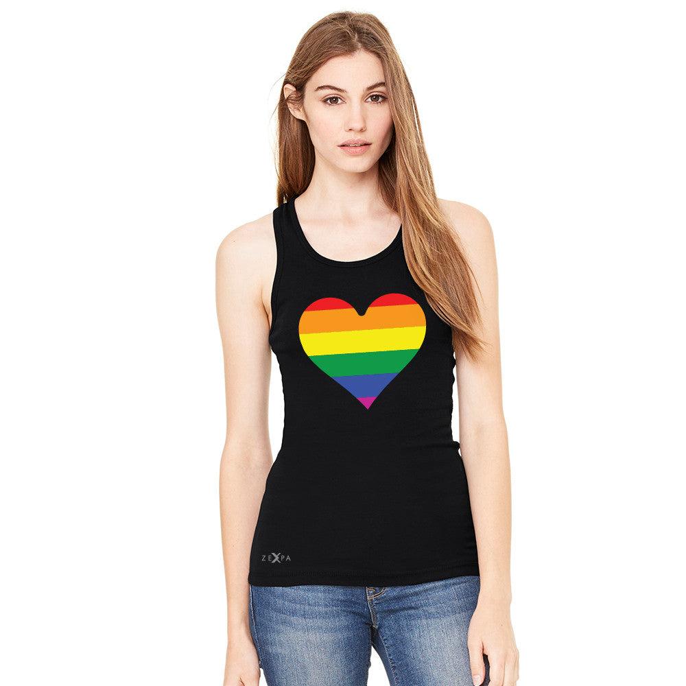 Gay Pride Rainbow Love Heart Strong Women's Racerback Pride Sleeveless - Zexpa Apparel