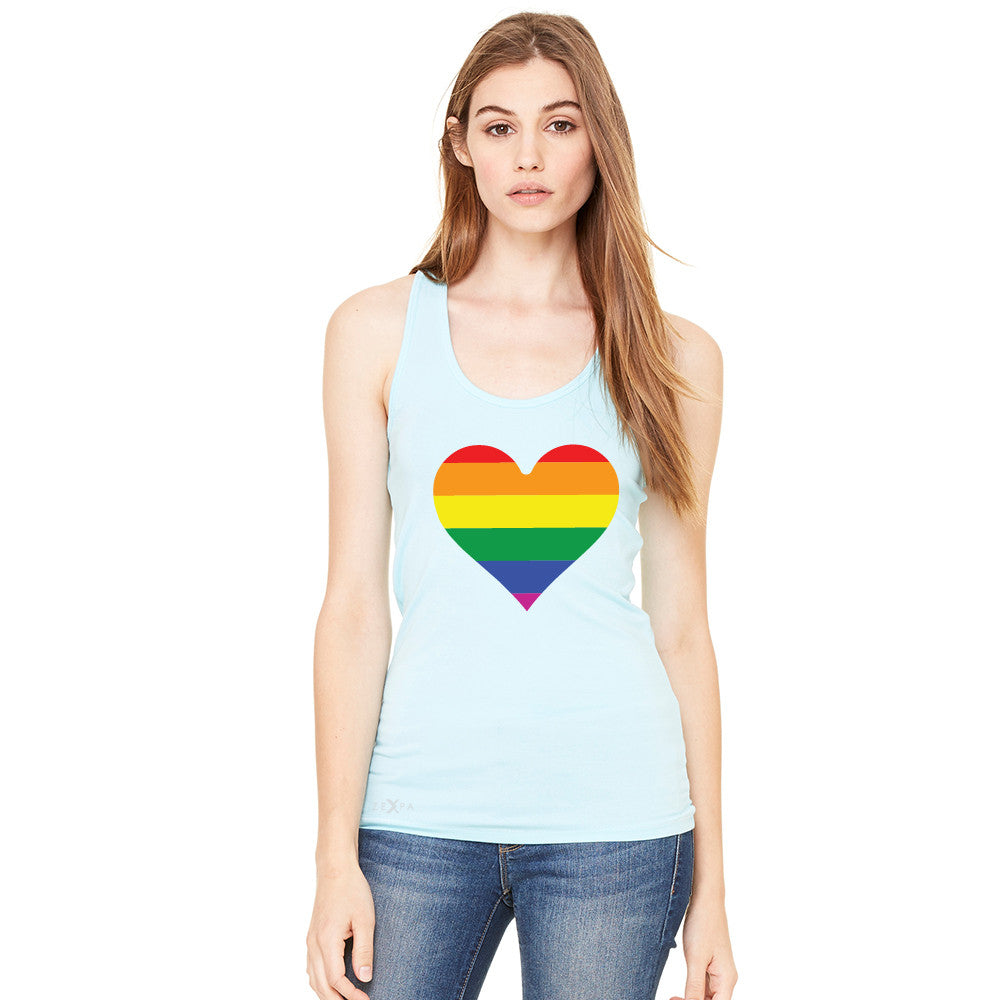 Gay Pride Rainbow Love Heart Strong Women's Racerback Pride Sleeveless - zexpaapparel - 2