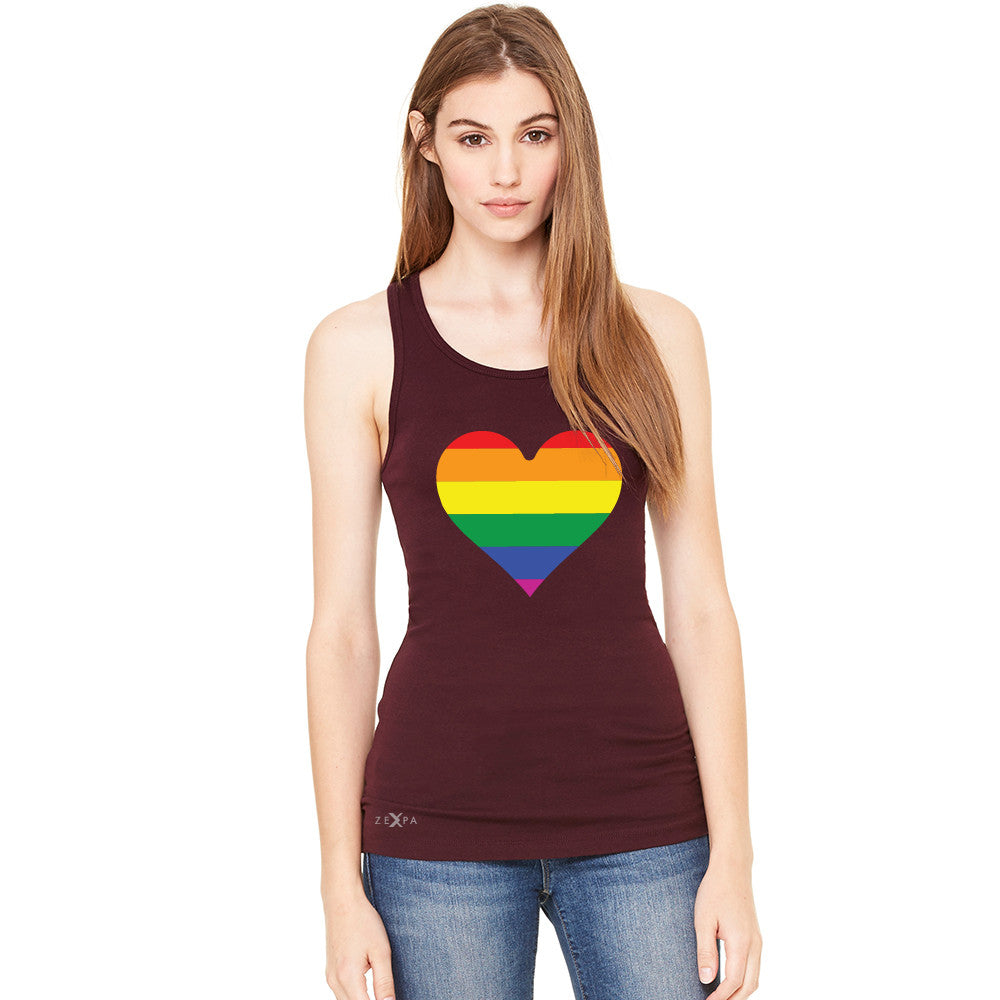 Gay Pride Rainbow Love Heart Strong Women's Racerback Pride Sleeveless - zexpaapparel - 3