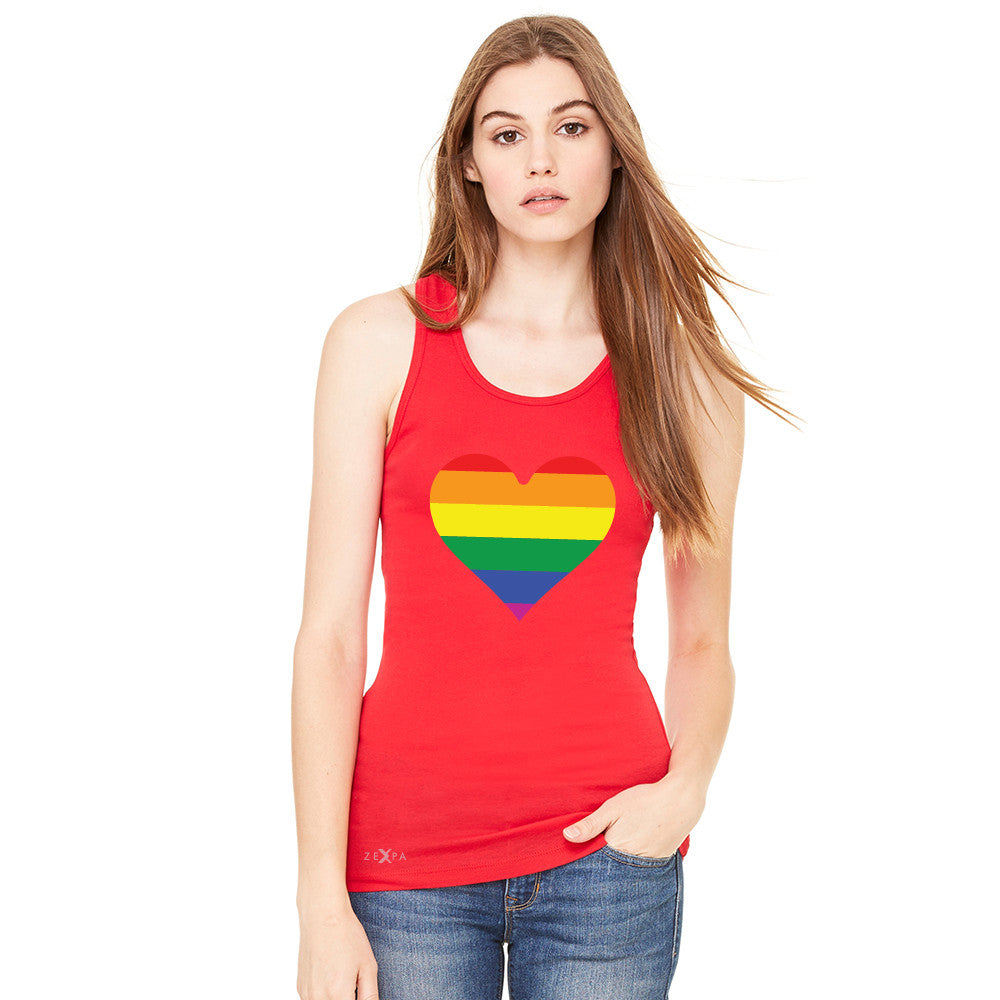 Gay Pride Rainbow Love Heart Strong Women's Racerback Pride Sleeveless - zexpaapparel - 4