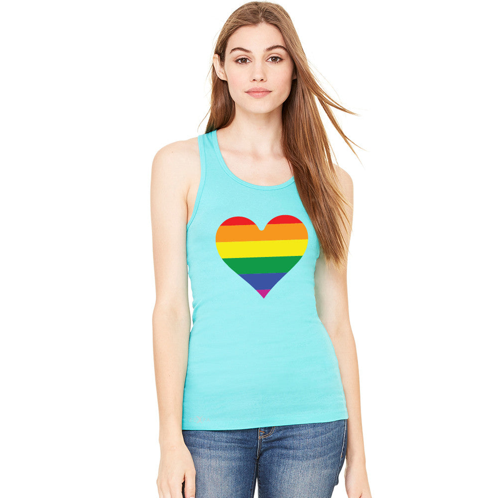 Gay Pride Rainbow Love Heart Strong Women's Racerback Pride Sleeveless - zexpaapparel - 5