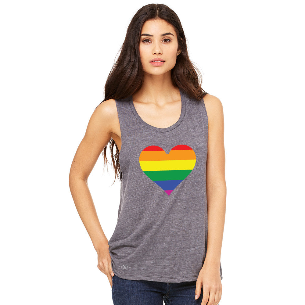 Gay Pride Rainbow Love Heart Strong Women's Muscle Tee Pride Sleeveless - Zexpa Apparel