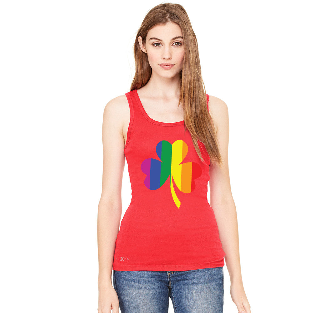 Gay Pride Rainbow Love Lucky Shamrock Women's Tank Top Pride Sleeveless - Zexpa Apparel - 2