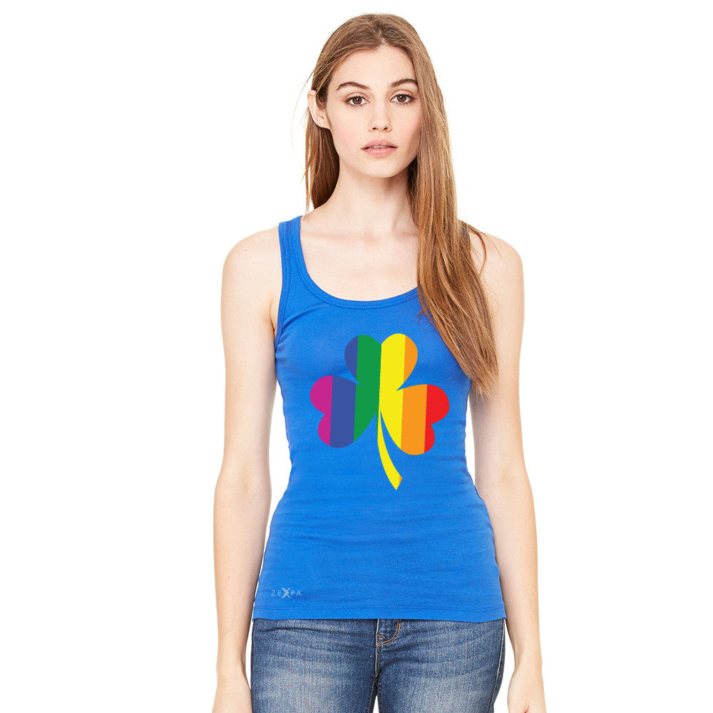 Gay Pride Rainbow Love Lucky Shamrock Women's Tank Top Pride Sleeveless - Zexpa Apparel - 6