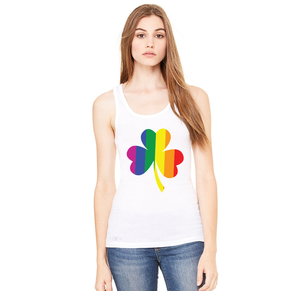 Gay Pride Rainbow Love Lucky Shamrock Women's Tank Top Pride Sleeveless - Zexpa Apparel