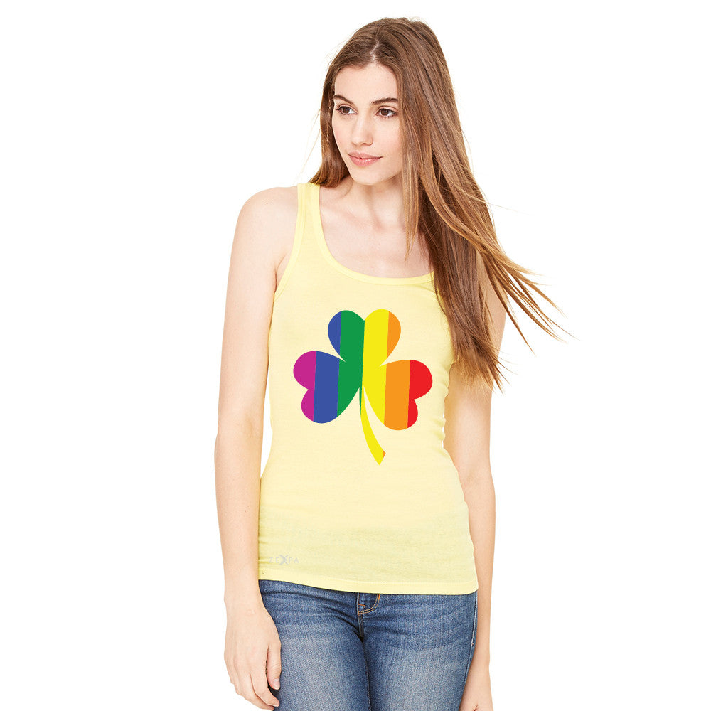 Gay Pride Rainbow Love Lucky Shamrock Women's Tank Top Pride Sleeveless - Zexpa Apparel - 7