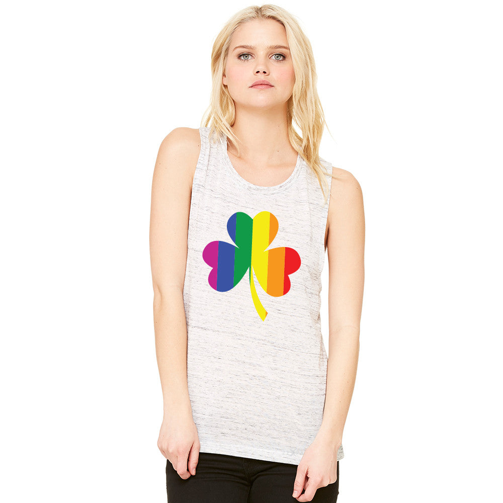 Gay Pride Rainbow Love Lucky Shamrock Women's Muscle Tee Pride Sleeveless - Zexpa Apparel